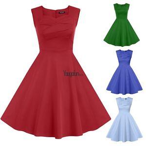 Women-lady-sleeveless-Swing-Pinup-Housewife-1950-039-s-Rockabilly-Evening-Dress