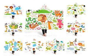Zoo-Animal-Elephant-Giraffe-Hippo-Kangaroo-Whale-Fleece-Hooded-Blanket-Throw