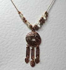 "LOVELY ROSE GOLD PLATED DANGLY PENDANT WITH CLEAR GLASS CRYSTAL BEADS 16"" 40CM"