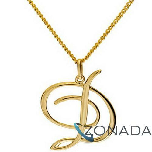 New 9ct 9k Solid Yellow Gold Initial D LETTER Pendant 65046D
