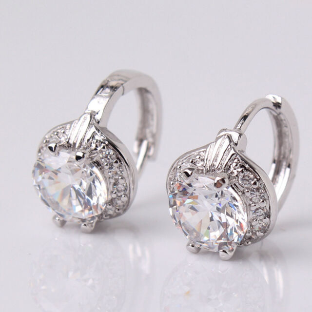 18k white gold filled white crystal charming lady huggie earring for wedding