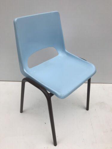 Chaise Ancienne Ecolier Enfant Bébé Métal Marron Coque Bleu Vintage Années 70