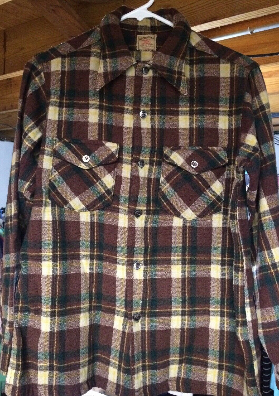 Vintage 1920-30s Jc Penny Sportclad flannel style shirt wool medium