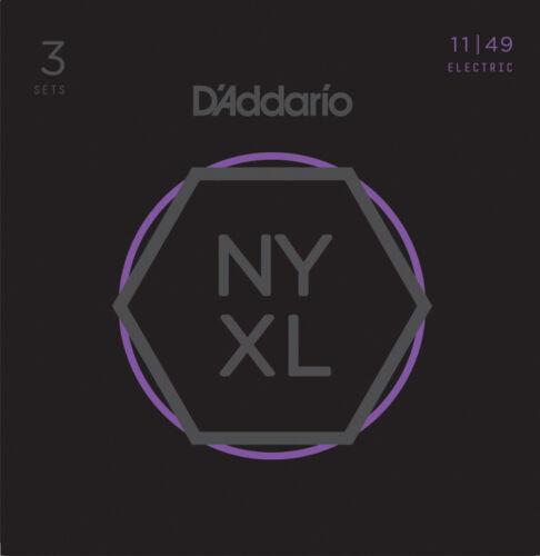 3 Pack D/'Addario NYXL Nickel Wound Medium Gauge Guitar Strings NYXL 1149-3P