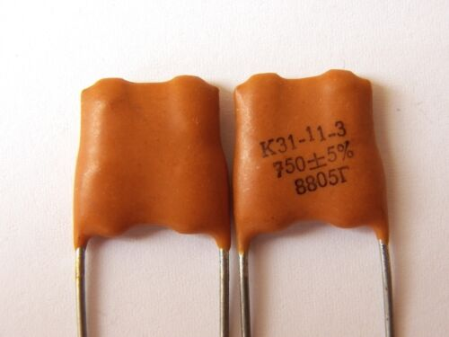 750pF 500V 5/% ex-USSR Silver Mica K31-11 Capacitor 25 pcs+