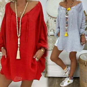 Casual-Tops-Women-Plus-Size-Pullover-Loose-Tunic-Blouse-Long-Sleeve-V-neck
