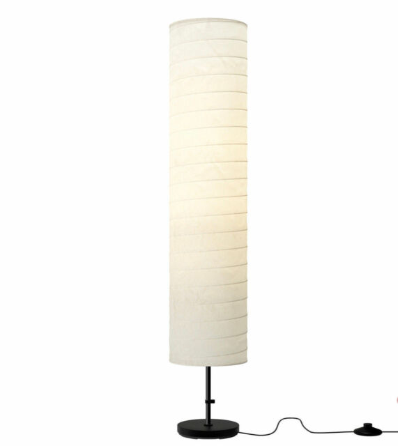 ikea holmo tall white floor lamp up lighter reading light black base paper shade - Ikea Floor Lamp