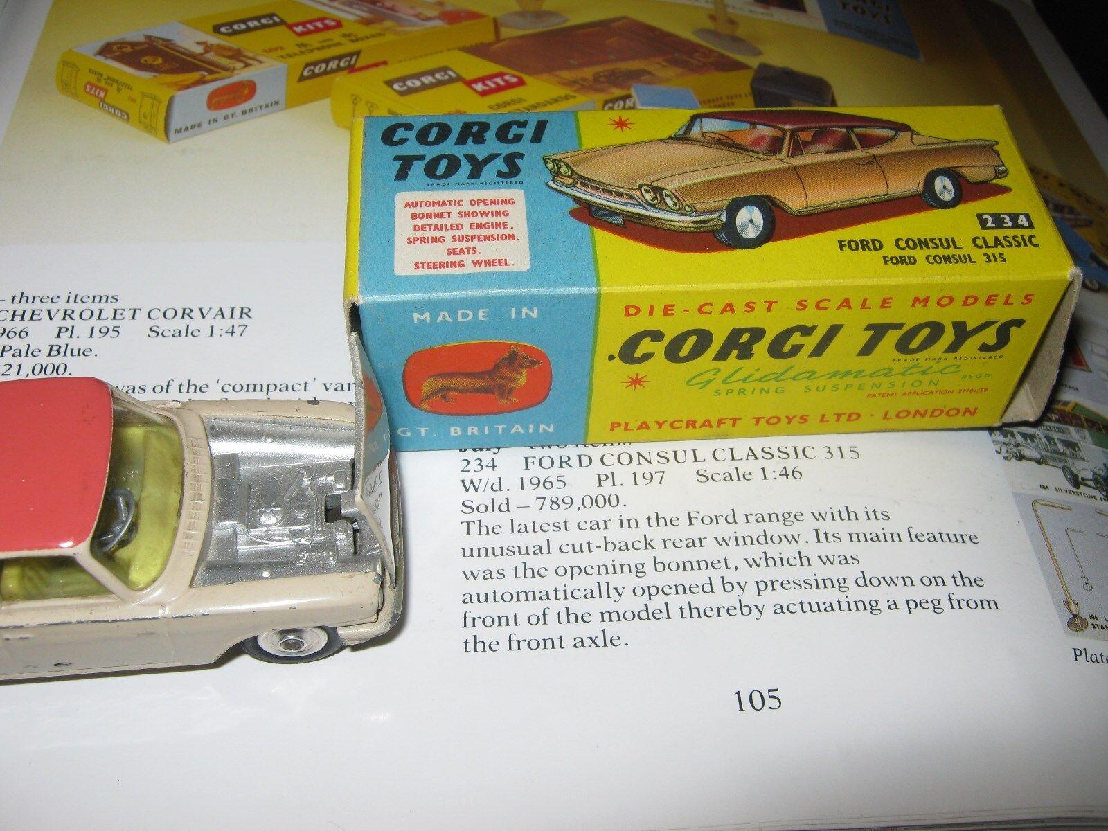 CORGI 234 FORD CONSUL CLASSIC LIGHTLY PLAYWORN IN EXCELLENT ORIGINAL BOX & BADGE