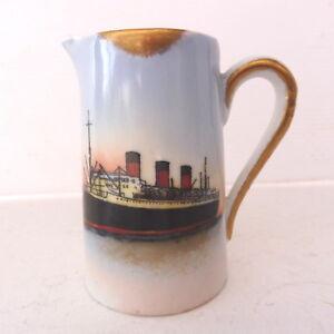* Ancien Pot A Lait En Porcelaine Saint Nazaire Paqubot Ile De France 8.5 Cm H