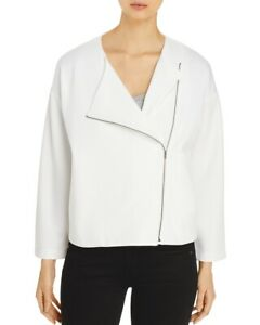 Eileen Fisher Womens Jacket Ivory Large L Asymmetrical-Zip Round-Neck $298 446