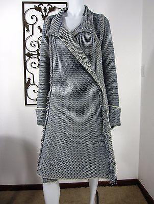 Pringle of Scotland Wool/Cashmere Long Sleeve Jacket Coat Size M, Blue/Gray