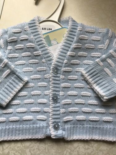 Spanish Knitted Baby Boys Cardigan 3-5lbs 5-8lbs Blue White Tiny Baby Premature
