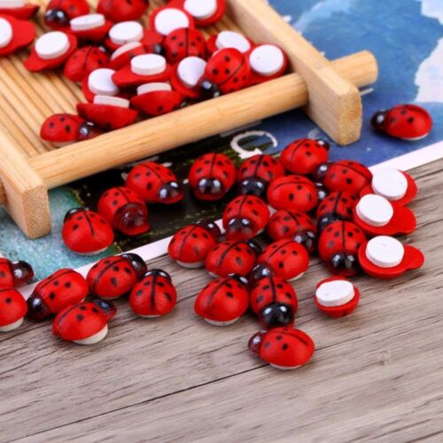 100Pack 3D Painted Wooden Ladybird Ladybug Flat Back DIY Kids Adhesive Stickers