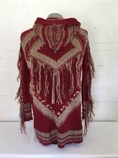 Free People Boho Fringe Hooded Long Sweater Cardigan S Maroon Anthro