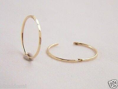 9ct Gold 15mm Small Faceted Hinged Hoop Sleeper Earrings