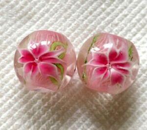 10pcs-handmade-Lampwork-glass-round-Beads-flower-14mm-pink-lily-flower