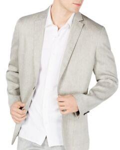 Alfani Mens Sport Coat Gray Size XL Linen Herringbone Two-Button Blazer $139 046