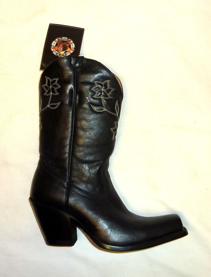Star Boots W6010 Size 6.5B Women Manchester Western Cowgirl Leather Boots BLACK