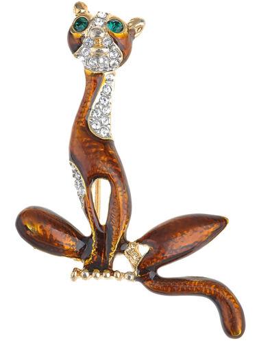 Fashion yeux CRISTAL STRASS Kitty Animal Chat Miaou Orange Émail Broche Pin