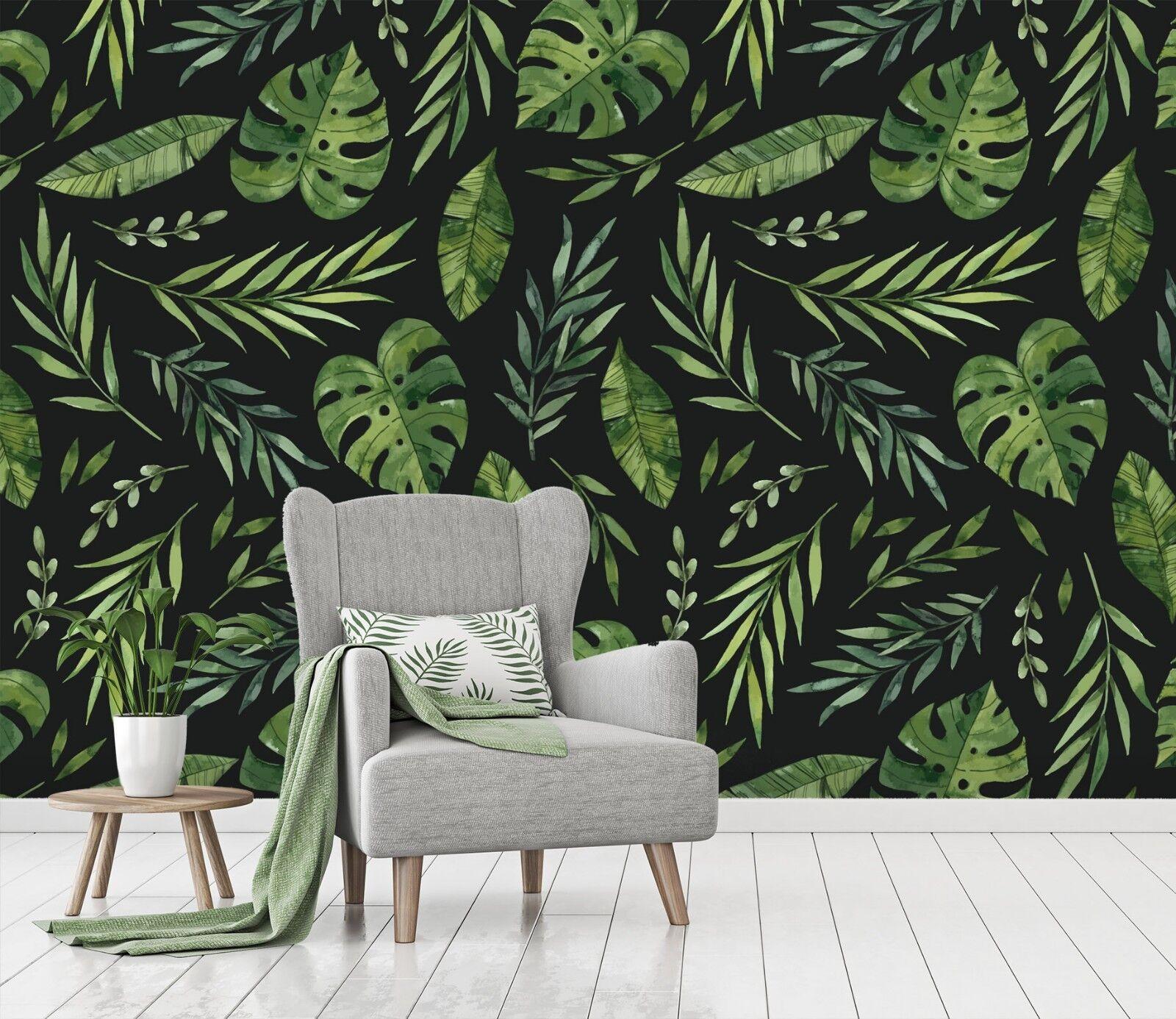 3D Grüne Blätter Malerei 12 Tapete Wandgemälde Tapete Tapeten Familie Kinde DE