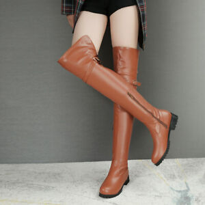 Ladies-Low-Cuban-Heels-Round-Toe-Zipper-Shoes-Over-Knee-High-Knight-Riding-Boots
