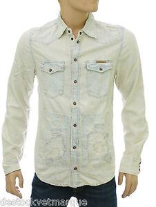 PEPE JEANS LONDON Chemise jeans bleach used homme Heritage modèle ... c26bc4c38dce