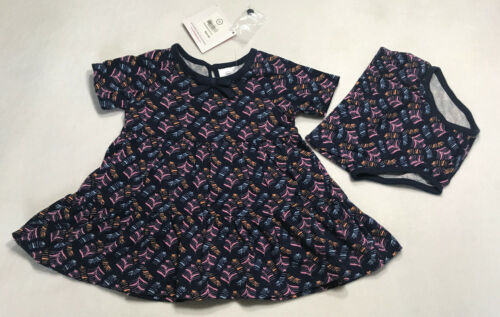 NWT Hanna Andersson Girls 60 2-6 Month Twirl Play Dress Outfit Set Navy Feathers