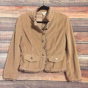 Womens-J-Jill-Small-Tan-Corduroy-Velvet-Ruffle-Trim-Button-Down-Blazer-Jacket