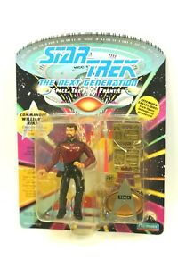 NEW-Sealed-STAR-TREK-TNG-Playmates-5-034-Figure-CMDR-RIKER-Logo-Base-Yellow-Pkg