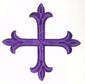 Vintage-Frances-Cruz-Fleury-Bordado-6-034-para-Coser-Violeta-B-Emblema-Parche-2PC