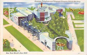 Cartolina-Postcard-New-York-World-039-s-Fair-1939-Telephone-Exibit-Bld