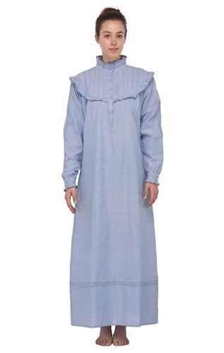 blue edwardian maniche notte edwardian Camicia con lunghe da chambray qHWwgF