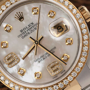 Rolex-36mm-Datejust-18k-Gold-amp-SS-Diamond-Watch-White-Mother-of-Pearl-Dial