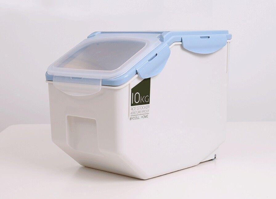 D07 10KG Kitchen Rice Storage Bin Flour Cereal Beans Grain Box Container Case Q