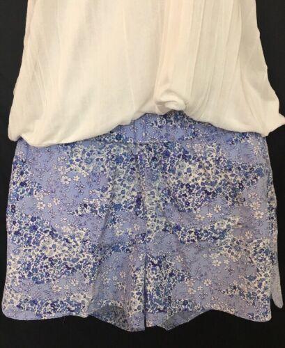 Equipment Shorts Blue Floral Silk Elastic Waist Si
