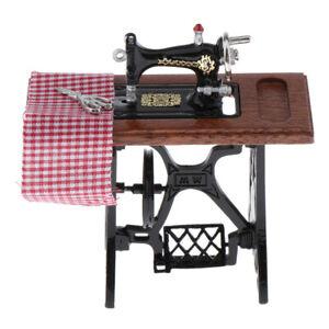 1-12-Dollhouse-Miniature-Furniture-Metal-Sewing-Machine-With-Scissors-Cloth