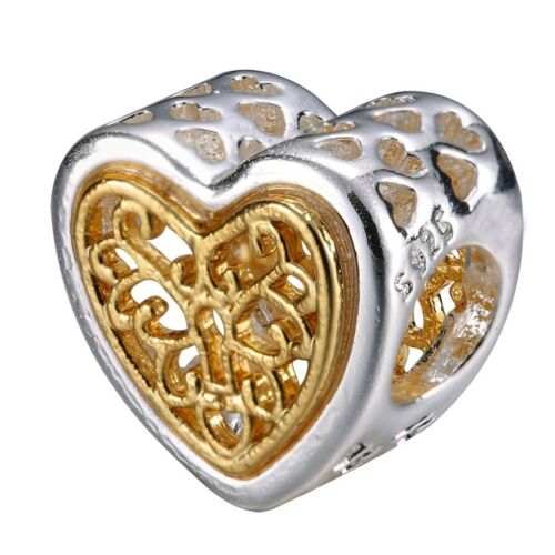 Plated Gold Openwork Heart Bead Silver Charm Fit New 925 Sterling Bracelet Chain