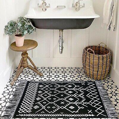 Upgraded Boho Bathroom Rug 2x4 3 Bohemian Rug Runner Black White Bath Mat 100 Ebay