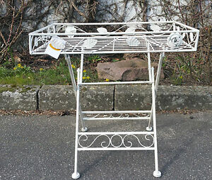 Beistelltisch Blumentisch Vintage weiß Metall Gartenmöbel Antik ...