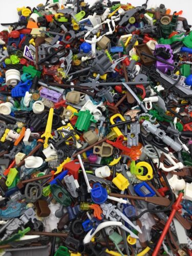 LEGO ACCESSORY LOT 1//4 POUND OF HEADGEAR WEAPONS TOOLS ECT BULK LBS
