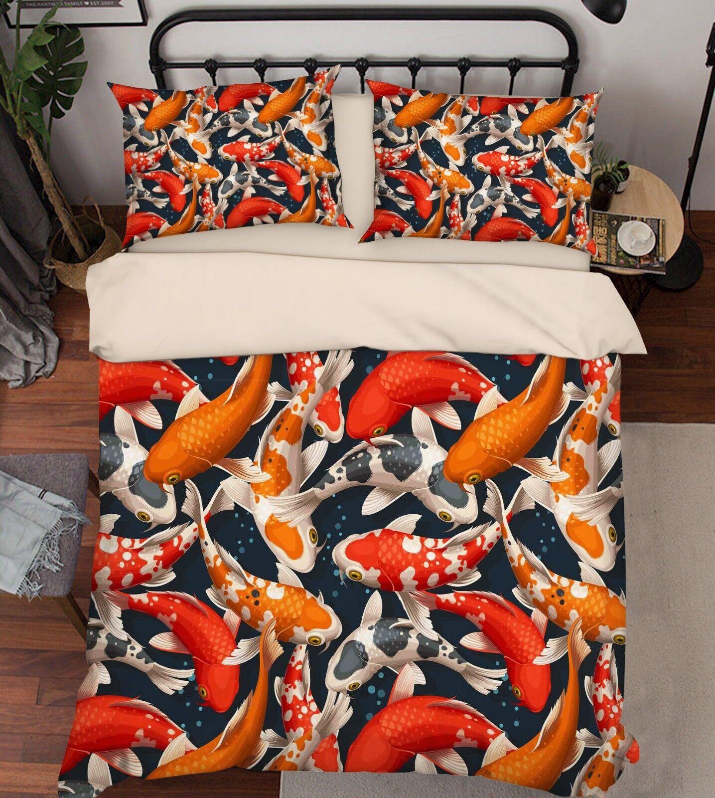 3D Pond Carp Paint 76 Bed Pillowcases Quilt Duvet Cover Set Single King UK Lemon