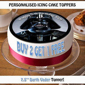 Personalised Edible Icing Cake Topper Toppers 75 Round Star Wars