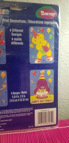 BARNEY PRINT DECORATIONS 4 Vintage Birthday Party Supplies Wall PBS Kids