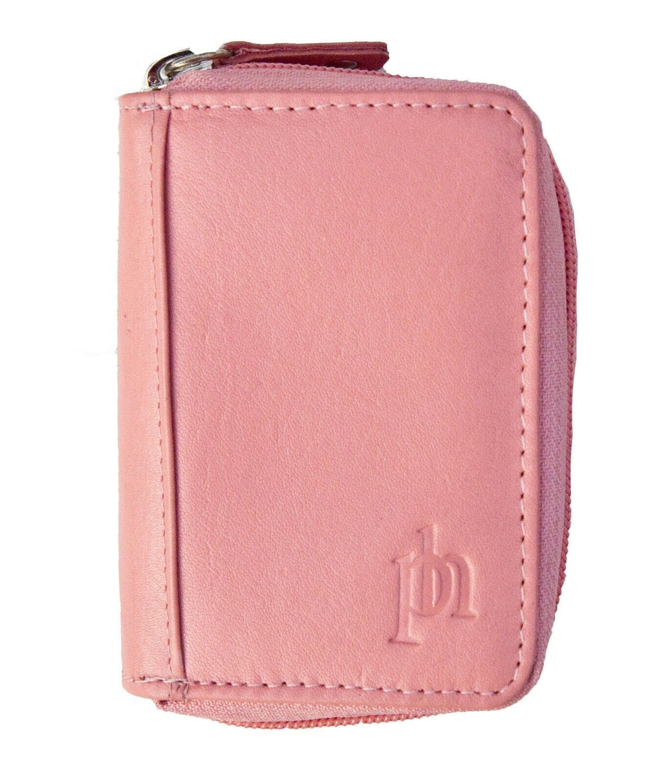 NEW Concerntina- Fan Style Coral Pink Leather Credit Card Holder by Prime Hide