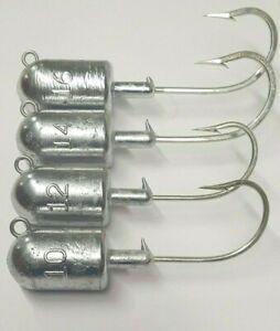 12oz Striper Ling Grouper Halibut Bullet 10//0 Saltwater Hook 10 Jig Heads Lures