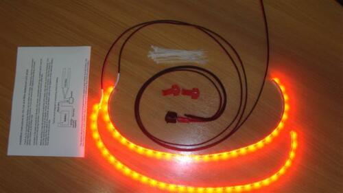 Twin 50cm Red LED interior footwell lights waterproof /& flexible exterior neon