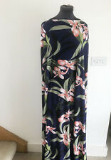 Tropical Orchid Flora/Flower Placement Print Stretch Jersey Dressmaking Fabric