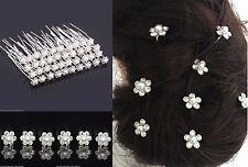10pcs Wedding Bridal Pearl Flower Crystal Hair Pins for Bridesmaid/Bride UK SELL