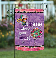 Toland - Home Is Where Your Heart Is - Cute Flower Double Sided Garden Flag