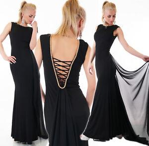 Abito-lungo-donna-vestito-strascico-gioiello-strass-cerimonia-elegante-sera-nuov